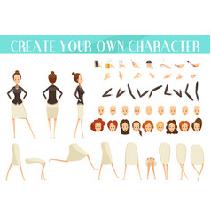 creation of woman cartoon style set vector image