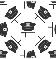 Police cap and baton icon seamless pattern on vector image