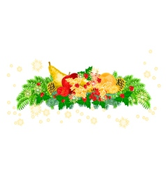 Christmas decoration with fruit and pine cones vector image vector image