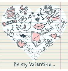 Doodle valentines day scrapbook love postcard vector