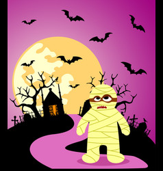 halloween background with mummy and full moon vector image