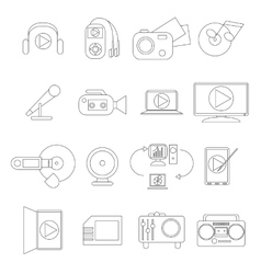 Multimedia icons set thin line style vector image