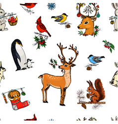 seamless pattern deer squirrel and christmas vector image