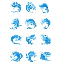 Waves water splashes isolated icons vector image vector image
