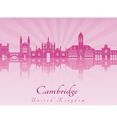 Cambridge skyline in purple radiant orchid in vector image vector image