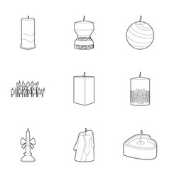 candle icons set outline style vector image vector image