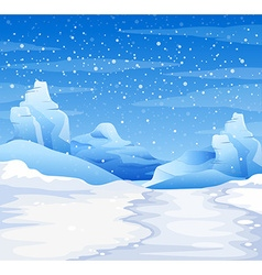 Nature scene with snow falling on the ground vector