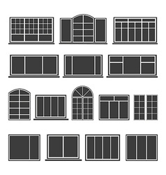 Set of silhouettes windows vector image vector image