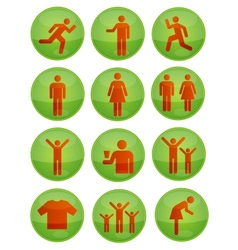 social symbols set green color isolated vector image vector image