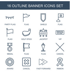 16 banner icons vector image