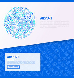 Airport concept in circle with thin line icons vector