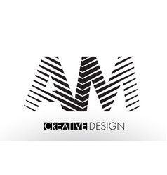 Am a m lines letter design with creative elegant vector