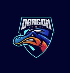 Awesome dragon sport logo design vector