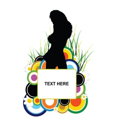 Banner with girl silhouette and circle vector