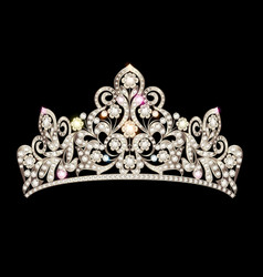 Beautiful female diadem with precious stones vector