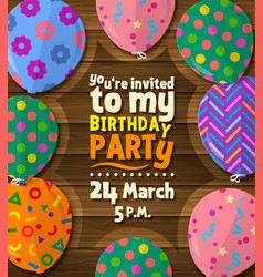 birthday party invitation card with flat balloons vector image
