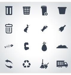 Black garbage icon set vector