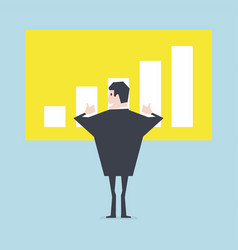 businessman thumbs up to a growing bar chart vector image