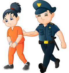 Cartoon police officer with female prisoner vector