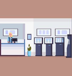 Cashier woman at cash desk financial consulting vector