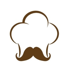 Chefs hat with mustache icon Food design vector