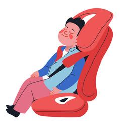 child boy sleeping in comfy children car seat vector image