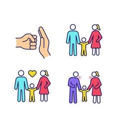 Child custody color icons set vector