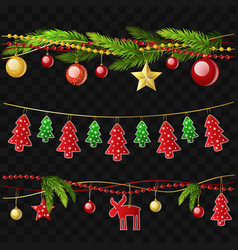 christmas garlands - set of modern vector image