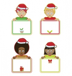 Christmas kids holding signs vector image