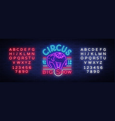 circus neon sign big show design template logo vector image