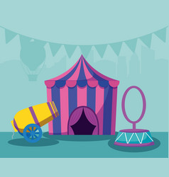 Circus tent with cannon and ring vector