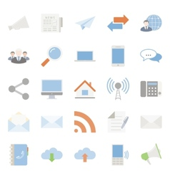 Comunication and web color flat icons set vector