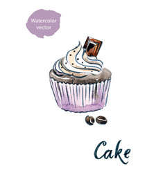 Cupcake with chocolate vector