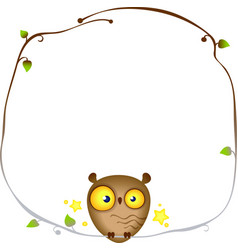 Cute funny owl sits on a frame of a tree branch vector