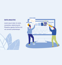 Data analysis web banner template with text space vector