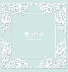 Decorative square frame on pastel blue vector