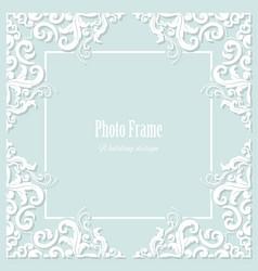 decorative square frame on pastel blue vector image