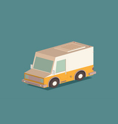 delivery van and cardboard packaging isometric vector image