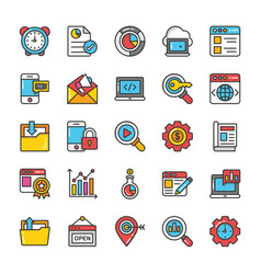 digital and internet marketing icons set 6 vector image