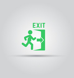 emergency exit green sign with man silhouette vector image
