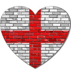 England flag on a brick wall in heart shape vector image
