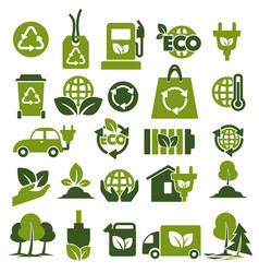environment protection and recycling themed green vector image
