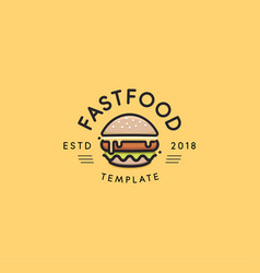 fast food logo template hot burger design vector image