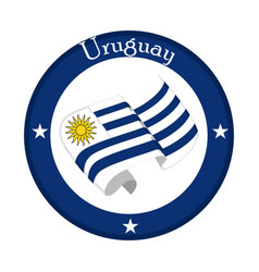 Flag of uruguay on a label vector