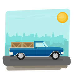 Flat old car pick up vector