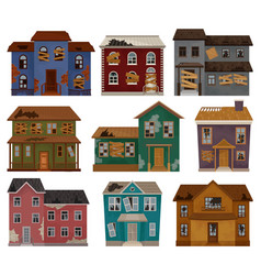 Flat set of abandoned houses with broken vector