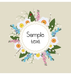 Floral frame circular ornament flowers vector