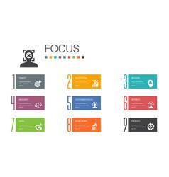Focus infographic 10 option line concepttarget vector