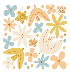 gentle birds and flowers composition vector image