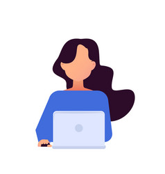 girl working with laptop in social networks vector image